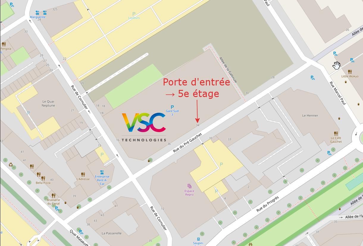 Plan d'accès au 34 rue du Pré Gauchet, Nantes