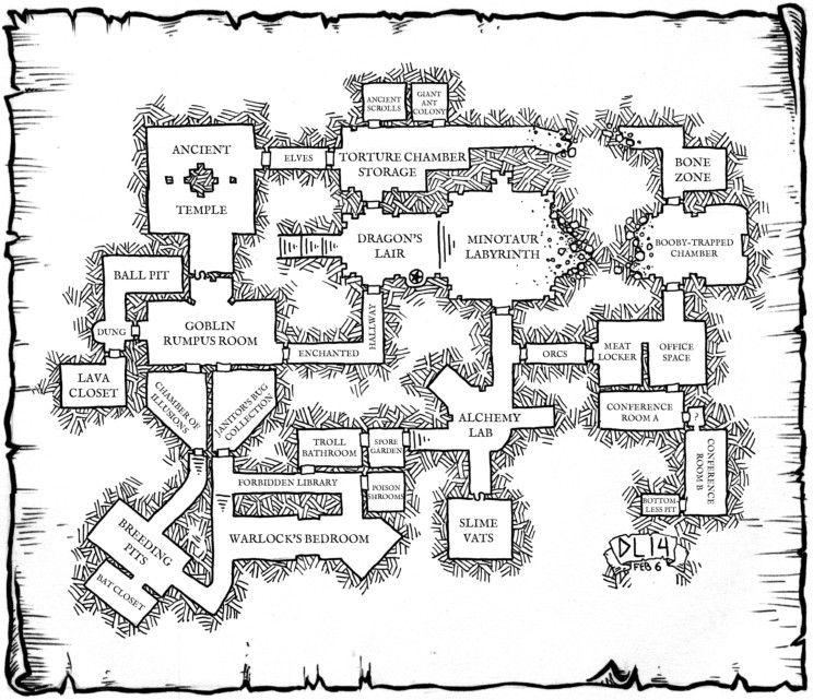 Carte de donjon tirée de DungeonJanitor